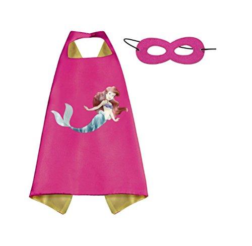 [Rush Dance Kids Children's Deluxe Comics Super Hero CAPE & Matching MASK Costume (Ariel (The Little] (My Little Mermaid Costumes)