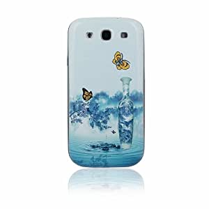 Blu e bianco della porcellana copertura posteriore della batteria Cubierta de la caja plástica dura de Shell protector para Samsung Galaxy S3 SIII i9300 with CableCenter Cable Tie