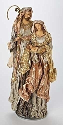 31'' Large Religious Green and Mauve Holy Family Fabric Mache Christmas Figure by Roman