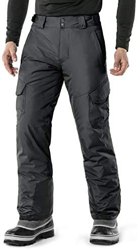 TSLA Men's Winter Snow Pants, Waterproof Insulated Ski Pants, Ripstop Windproof Snowboard Bottoms