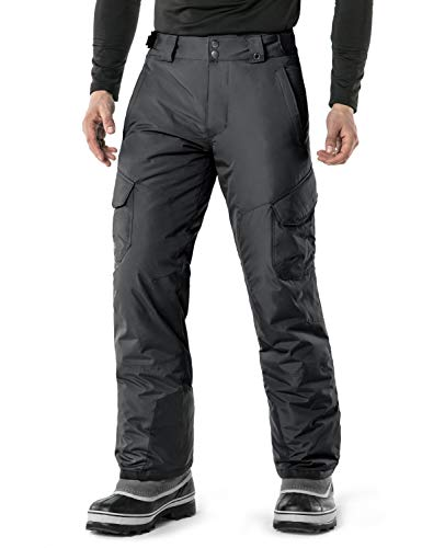 TSLA Men's Rip-Stop Snow Pants Windproof Ski Insulated Water-Repel Bottoms, Snow Cargo(ykb83) - Charcoal, 3X-Large (Waist 41.5-44 Inch)