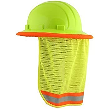 2/PACK - Neck Sun Shield For Hard Hats Hi Visibility Mesh - Hi Viz Lime (2/PACK)