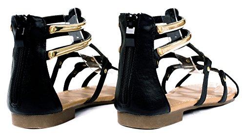 Kesha58 Gladiatore Romano Cinturino Dorato Comfort Sandalo Piatto Scarpe Nere