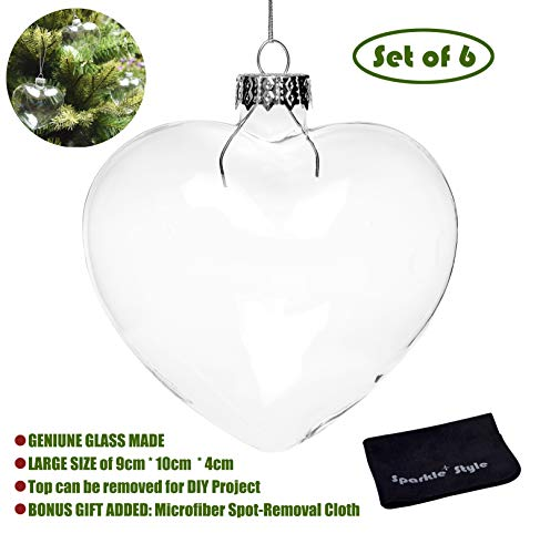 Glass Ornaments Bulk (Sparkle Style 6 X Hanging Clear Heart Shape Glass Baubles Ornaments, Perfect for Garden Outdoor Christmas Wedding Decoration or DIY Personalize)