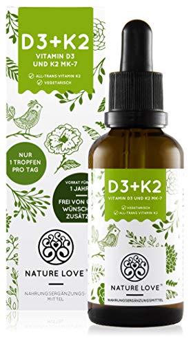 NATURE LOVE® Vitamin D3 + K2 Tropfen 50ml - Hoch bioverfügbar durch Original VitaMK7® 99,7% All-Trans + hoch bioverfügbares D3 (1000 IE) Laborgeprüft, flüssig, hochdosiert, hergestellt in Deutschland