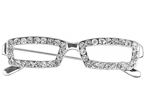 (Alilang Silver Tone Clear Crystal Colored Rhinestones Rectangle Nerdy Glasses Brooch Pin )