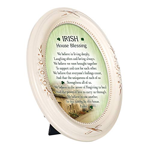 Cottage Garden Irish House Blessings Failte! Ivory Floral 5 x 7 Oval Table Top and Wall Photo Frame