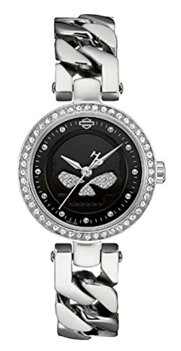 Harley-Davidson Women's Willie G Skull Crystal Embellished Watch, Silver 76L178