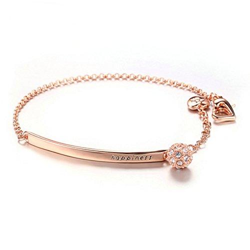 AshleyNicole Design Rose-Gold Chain Bracelet Cubic Zirconia Bar Adjustable Link for Women Girls Gift Giving (Tear Drop) ()