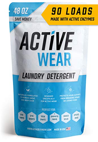 Active Wear Laundry Detergent - Formulated for Sweat and Workout Clothes - Natural Performance Sport-Wash Concentrate - Enzyme Booster Deodorizer - Powder Wash for Activewear Gym Apparel (90 Loads) (Best Laundry Detergent For Sweat Stains)