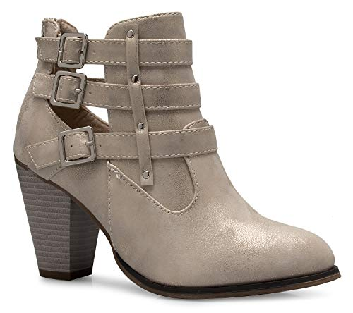 (OLIVIA K Women's Classic Stacked Wood Heel with Side Zipper Enclosure - Adjustable Ankle Straps with Buckle )