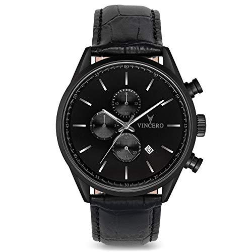 Vincero Luxury Men's Chrono S Wrist Watch — Matte Black with Black Leather Watch Band — 43mm Chronograph Watch — Japanese Quartz ()