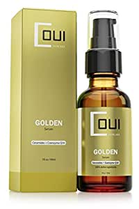 GOLDEN FACIAL SERUM Ceramide Moisturizer Coenzyme Q10 & Argan Oil Active Ingredients - Ultimate Anti Aging Skin Care - Best for Face, Neck and Eyes - Rejuvenate Dry Skin with Natural Ingredients