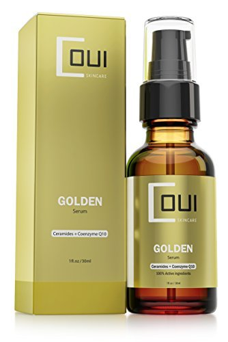 GOLDEN FACIAL SERUM Coenzyme Q10 & Argan Oil Active Ingredients - Ultimate Anti Aging and Hydrating Skin Care - Best for Face, Neck and Eyes - Hydrate Dry Skin with Natural Ingredients ()