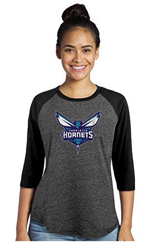 NBA Charlotte Hornets Women's Premium Triblend 3/4 Sleeve Raglan, Medium, - Charlotte Premium