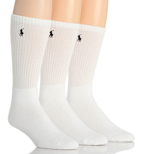 - Polo Ralph Lauren Crew Sport Socks 3-Pack, One Size, White