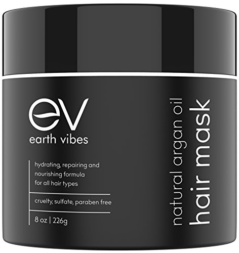 - Earth Vibes Hydrating Argan Oil Hair Mask Conditioner - Deep Conditioning & Moisturizing - Hair Repair Treatment For Dry Damaged Hair - Sulfate Free - Organic Jojoba Oil, Coconut Oil - (8 Oz/226g)