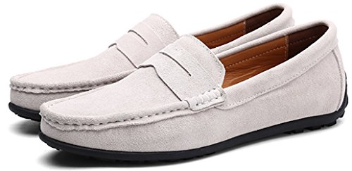 Grey890 Men's Waltzon Driving Leather on Suede Shoes Moccasins Slip Loafers rOwdrzq