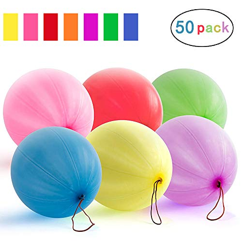 KORSMALL Punch Balloons,Assorted Color Neon Punch Balls with Rubber Band Handles for Birthday Gift Bags, Kids Games,Party Games and Wedding,Natural Latex Punching Balloons (12inch, 50 Pack)]()