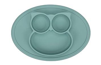 Amazon.com: Platos de silicona para niños, diseño de búho ...