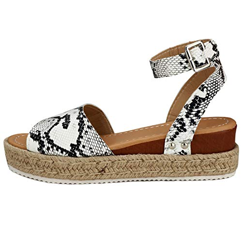 Womens Casual Espadrilles Platform Peep Toe Studded Wedge Buckle Ankle Strap Open Toe Sandals (Snake,10 M US)