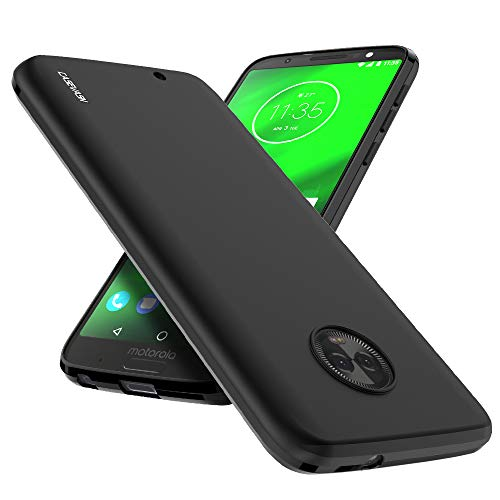 (Moto G6 Case, CASEVASN [Shockproof] Anti-Scratches Flexible TPU Gel Slim Fit Soft Skin Silicone Protective Case Cover for Motorola Moto G6 (Black))
