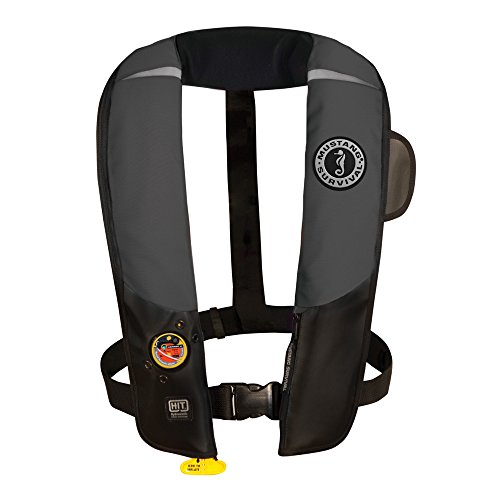 (Mustang Survival Corp Inflatable PFD with HIT (Auto Hydrostatic) and Bright Fluorescent Inflation Cell, Gray/Black)