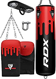 RDX Punching Bag Unfilled Set Muay Thai Training Gloves with Punch Mitts Hanging Chain Ceiling Hook, Great for