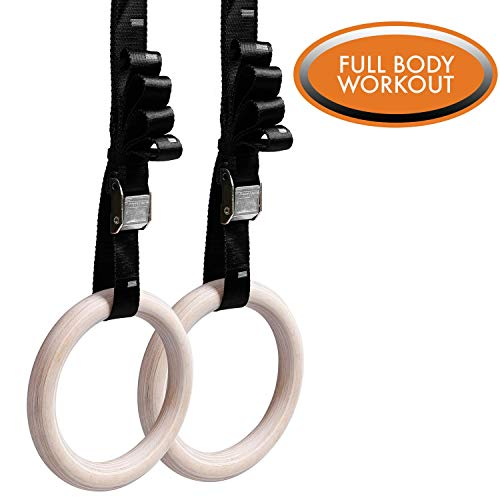 Wooden Gymnastics Rings by Day 1 Fitness with Durable, Adjustable Straps for Strength, Balance - Premium Outdoor Workout Rings to Increase Flexibility for Men and Women - Gymnastics Equipment