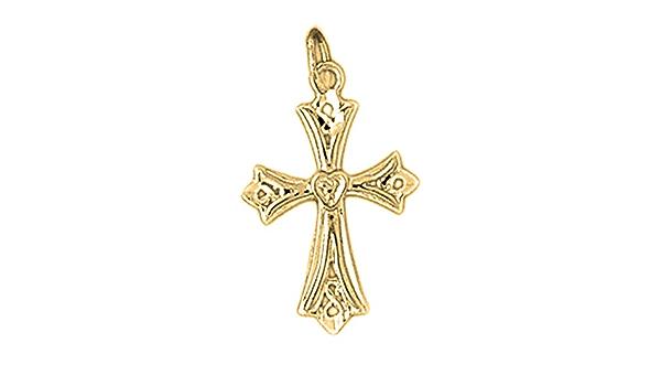Jewels Obsession 14K White Gold Budded Crucifix Pendant 22 mm