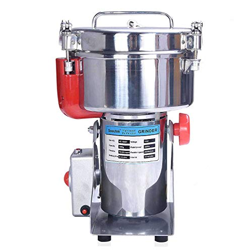 n Grinder Mill Machine 1000g Stainless Steel Swing Type - Automatic Power Off Multifunctional Food Pulverizer Machine for Grinding Various Grain Spices and Flour ()