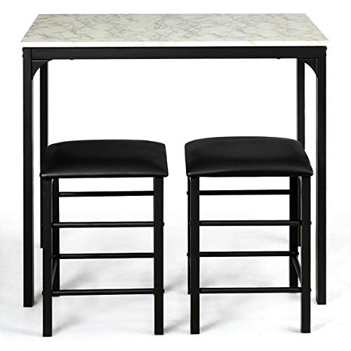 (3Pcs Faux Marble Table Stool Seat Counter Height Kitchen Bar Dining Set w/ 2 Chairs with Ebook)