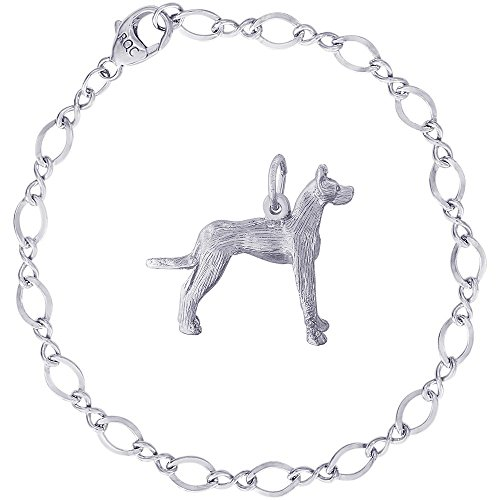 (Rembrandt Charms Sterling Silver Great Dane Dog Charm on a Figure Eight Link Bracelet, 7