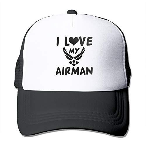 I Love My Airman Adult Driver Mash Headgear Black