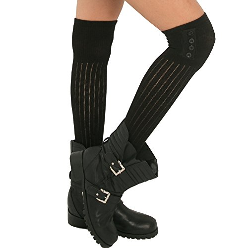 KoolFree Women Ribbed Knee High Stockings, Side decorated with Button (Black, One Size) (Plus Size Punk Dress)