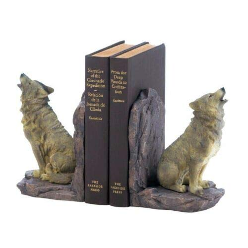 Lovely999 Howling Wolf Bookends Two Finely Detailed,Keep Your 'Pack' of Books Together