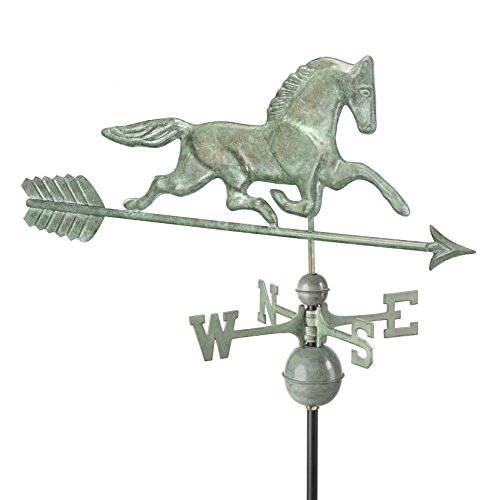 Horse Patchen Directions Good - Good Directions Patchen Horse Weathervane with Arrow, Blue Verde Copper