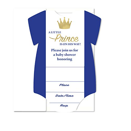 Royal Prince Blank Fill in Invite Baby Shower, Invitation 10 Pack Envelopes A7 5x7 Bodysuit Design with Real Gold Foil Royal -