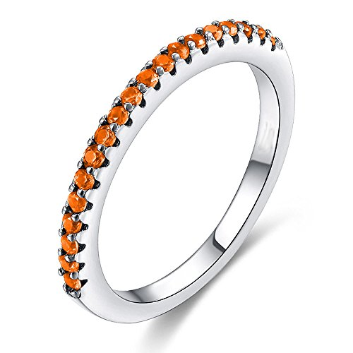 Multicolor CZ Simulated Diamond Platinum Plating Stackable Ring Pave Eternity Bands for Women (Orange, 7) (Pave Stackable Ring)