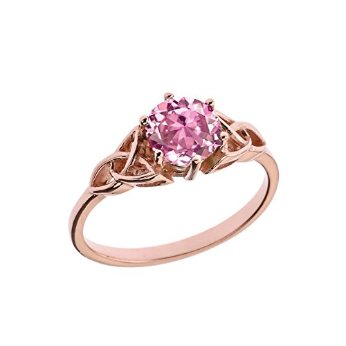 Birthstone Trinity Knot - Dazzling 10k Rose Gold Personalized Birthstone Trinity Knot Engagement/Proposal Ring (Size 7)
