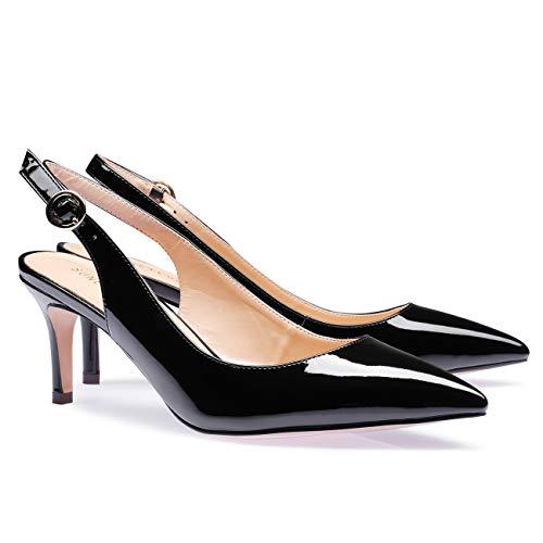 SUNETEDANCE Kitten Women's Mid Toe Shoes Sandals Pointed Stiletto On Slingback black Heels Pumps Heels Slip Patent XnXxdrq