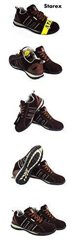 Mens Formadores Zapatos Botas de seguridad puntera de acero de trabajo tobillo de excursionista, piel sintética, SW-Grey/Black, 6 Grey/Brown Suede