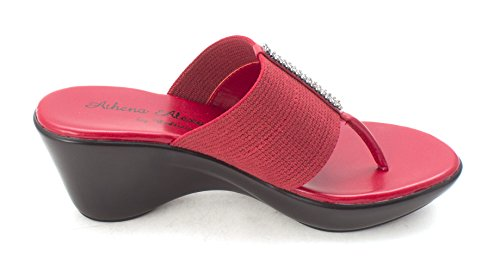 Athena Alexander Womens Reece Split Toe Casual Platform Sandals, Red, Size 7.5