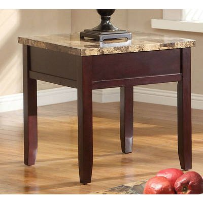 Homelegance Orton Faux Marble Top End Table In Rich Cherry - Homelegance Cherry Lift