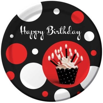 Creative Converting Cupcake Blowout Dots, Happy Birthday Round Dinner Plates, 8-Count