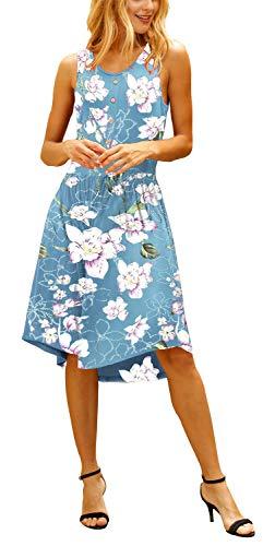 ELF QUEEN Womens Dresses Casual Summer Floral Print Sleeveless Midi Dress White Flower -