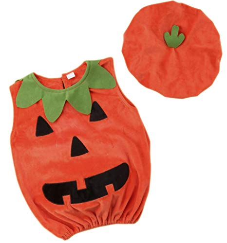 Toddler Boys Girls Pumpkin Halloween Costumes Romper Bodysuit Cosplay Outfits with Hat Size 12-24Months/Tag100 (Orange) -
