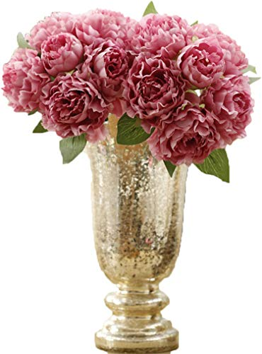 Anlise European Style Peony Artificial Flowers 1 Bunch Bouquet Silk Flower for Home Bridal Wedding, Pale Mauve