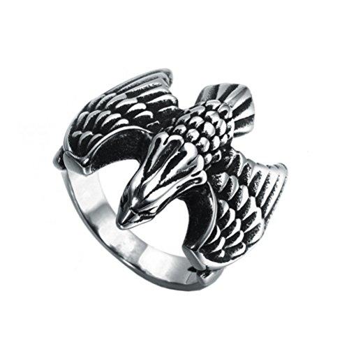 Oakky Men's Stainless Steel Retro Silver Black Domineering Eagle Bird Ring Size 8