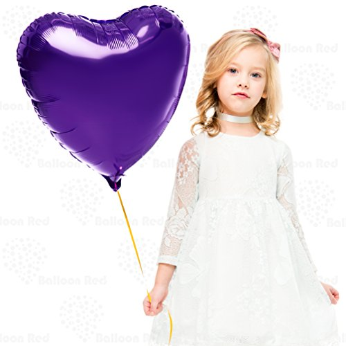 18 Inch Helium Foil Mylar Balloons (Premium Quality), Pack of 6, Heart - Purple ()